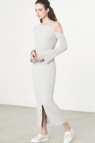 Lavish Alice Cutaway Asymmetric Dress In Grey Knit