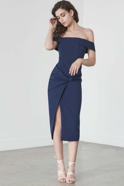 Lavish Alice Knot Front Bardot Dress In Navy