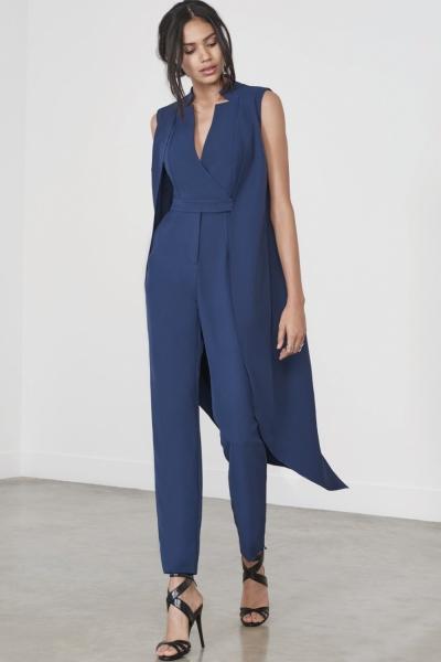 Lavish Alice Navy Waistcoat Tailored Jumpsuit