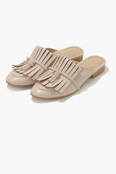 Lavish Alice Nude Leather Fringe Tie Knot Detail Backless Loafer