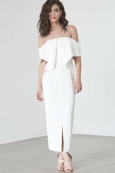 Lavish Alice Off White Ribbed Fold Bandeau Midi Dress