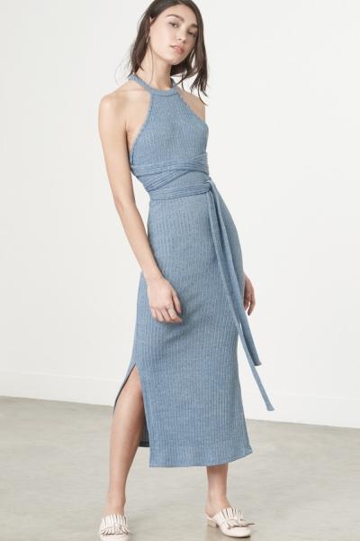 Lavish Alice Racer Cut Dress In Dusty Blue Knit