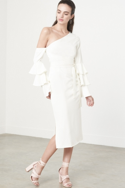 Lavish Alice Ruffle Sleeve Asymmetric Dress In White