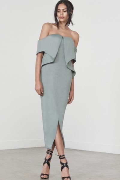 Lavish Alice Sage Green Ribbed Fold Bandeau Midi Dress