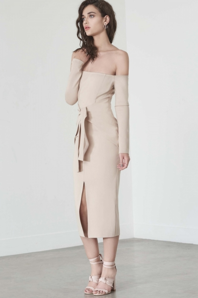 Lavish Alice Sand Bandeau Tie Front Midi Dress