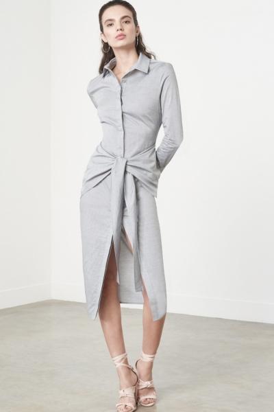 Lavish Alice Tie Front Shirt Dress In Grey Cotton