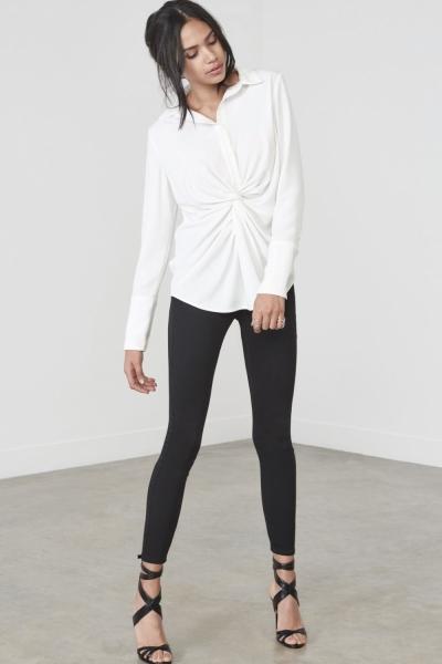 Lavish Alice White Twist Front Shirt