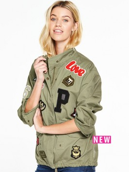 V By Very Badge Detail Military Jacket