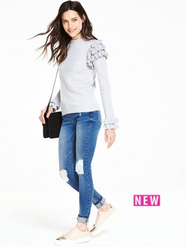 V By Very Frill Sleeve And Cuff Jumper
