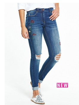 V By Very Kayden Slim Leg Embellished Boyfriend Jean