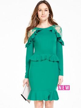 V By Very Lace Insert Ruffle Dress