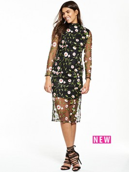 V By Very Premium Embroidered Mesh Dress