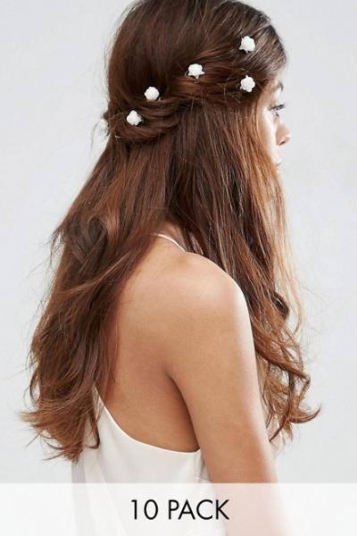 ASOS Pack Of 10 White Rose Hair Clips