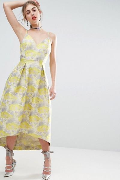 ASOS SALON Beautiful Floral Jacquard Midi Prom Dress