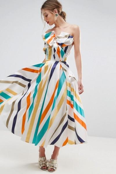 ASOS SALON Bow Front Stripe Prom Midi Dress
