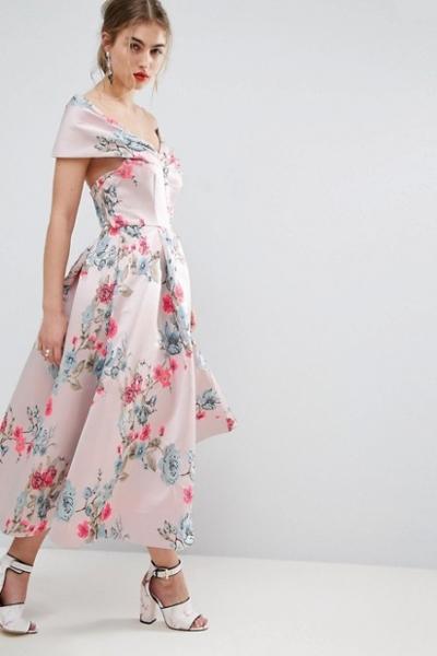 ASOS SALON Floating Bardot Jacquard Midi Prom Dress