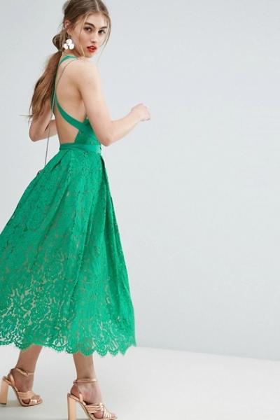 ASOS SALON Lace Pinny Backless Full Midi Prom Dress