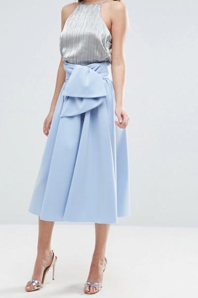 ASOS Scuba Prom Skirt With Tie Waist Blue
