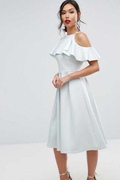 ASOS Scuba Ruffle Top Midi Prom Dress
