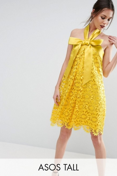 ASOS TALL SALON Aline Lace Mini Dress With Bow Detail