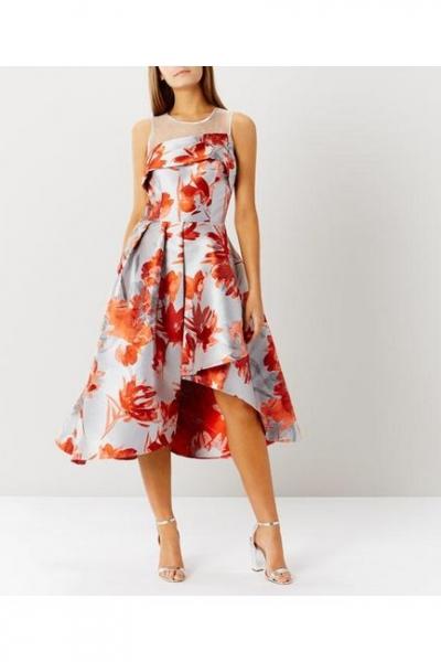 Coast Aurora Coral Jacquard Dress