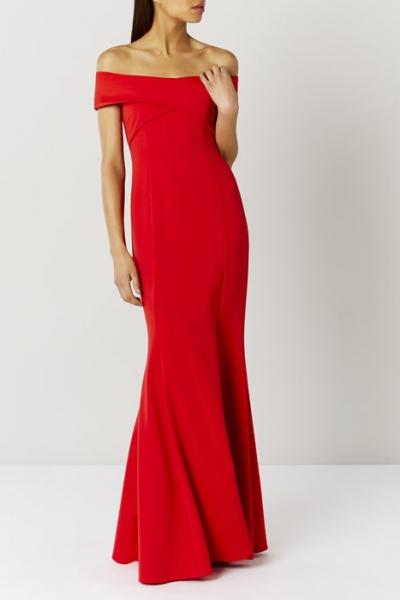 Coast Sophie Red Scuba Prom Dress