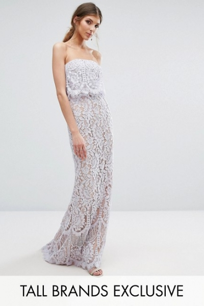 Jarlo Tall All Over Lace Bandeau Maxi Dress
