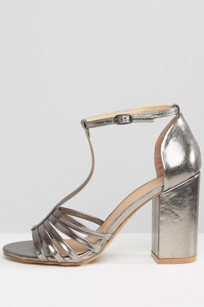 New Look Metallic Caged Block Heeled Sandal