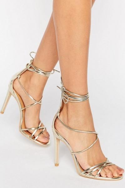 Public Desire Jordan Tie Up Gold Heeled Sandals
