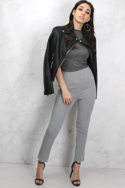 Rare Black And White Gingham Printed Cigarette Trousers
