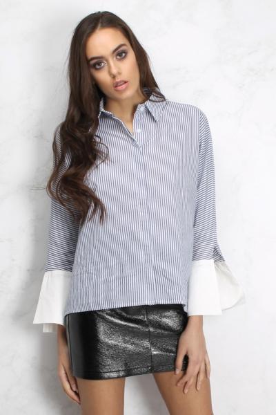 Rare Blue And White Contrast Collar Striped Shirt