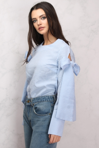 Rare Blue And White Gingham Tie Sleeve Blouse