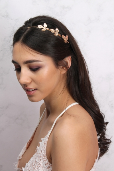 Rare Gold Textured Leaf Detail Headband
