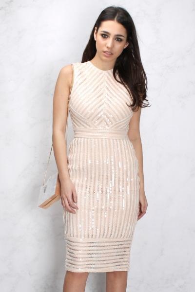 Rare Nude Sequin Stripe Bodycon Midi Dress