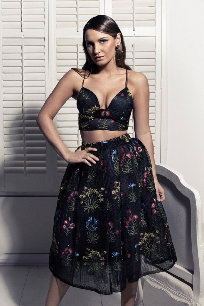 Rare Sam Faiers Wears Black Floral Embroidered Full Skirt