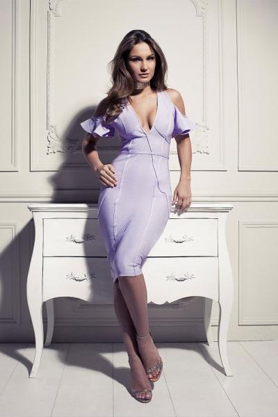 Rare Sam Faiers Wears Lilac Bandage Bardot Midi Dress