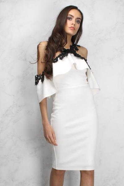 Rare Sam Faiers Wears White Lace Trim Frill Bardot Dress
