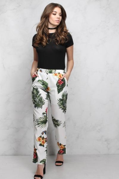 Rare White Floral Print Cigarette Trousers