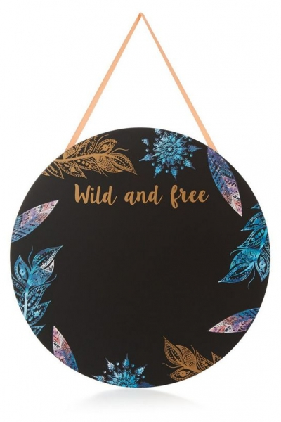 New Look Black Feather Print Wild And Free Chalk Board
