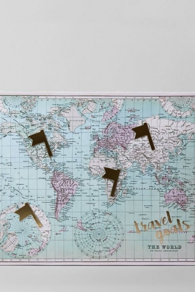 New Look Pale Blue World Map Canvas