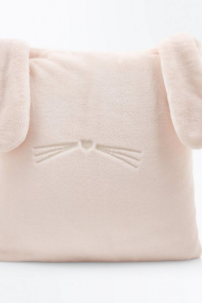 New Look Shell Pink Fluffy Bunny Cushion