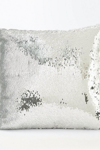 New Look Silver Sequin Square Cushion