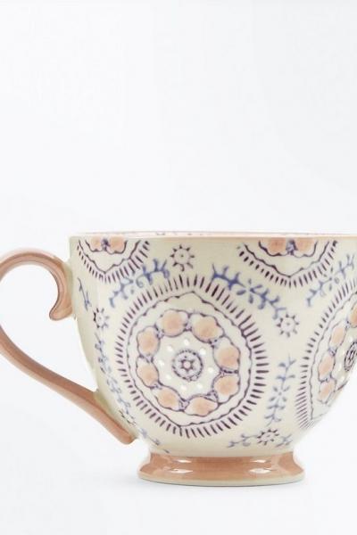 New Look White Pastel Print Wide Mug