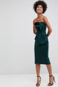 ASOS Bandeau Fold Bow Front Scuba Midi Dress