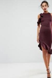ASOS Cold Shoulder Ruffle Pephem Midi Dress