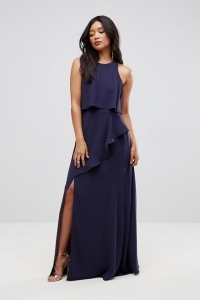 ASOS Crop Top Thigh Split Maxi Dress Navy