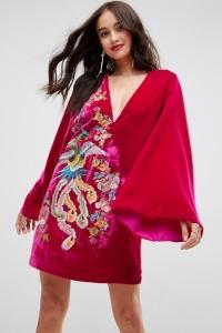 ASOS Embroidered Velvet Kimono Mini Dress
