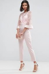 ASOS Jumpsuit With Lace Bodice And Contrast Satin Trouser