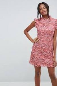 ASOS Lace Frill Sleeve Mini Dress