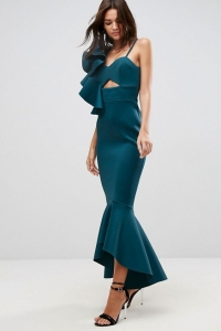 ASOS PREMIUM One Shoulder Ruffle Pephem Maxi Dress
